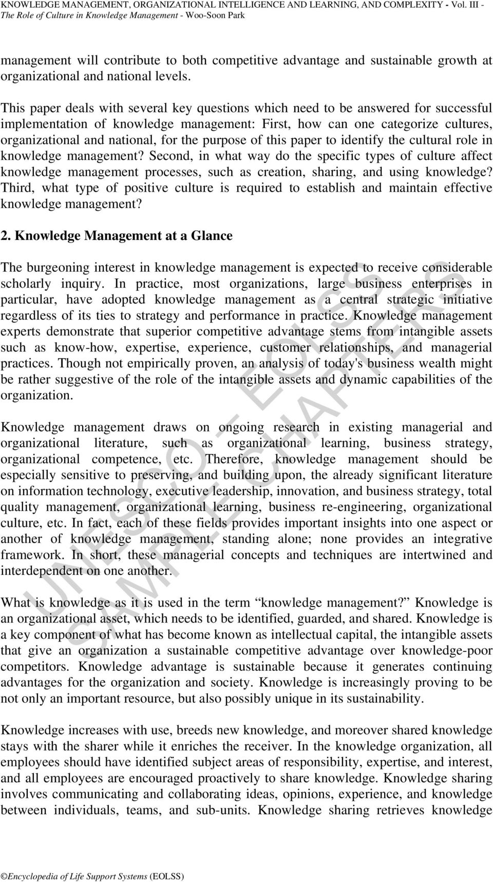 the purpose of this paper to identify the cultural role in knowledge management?