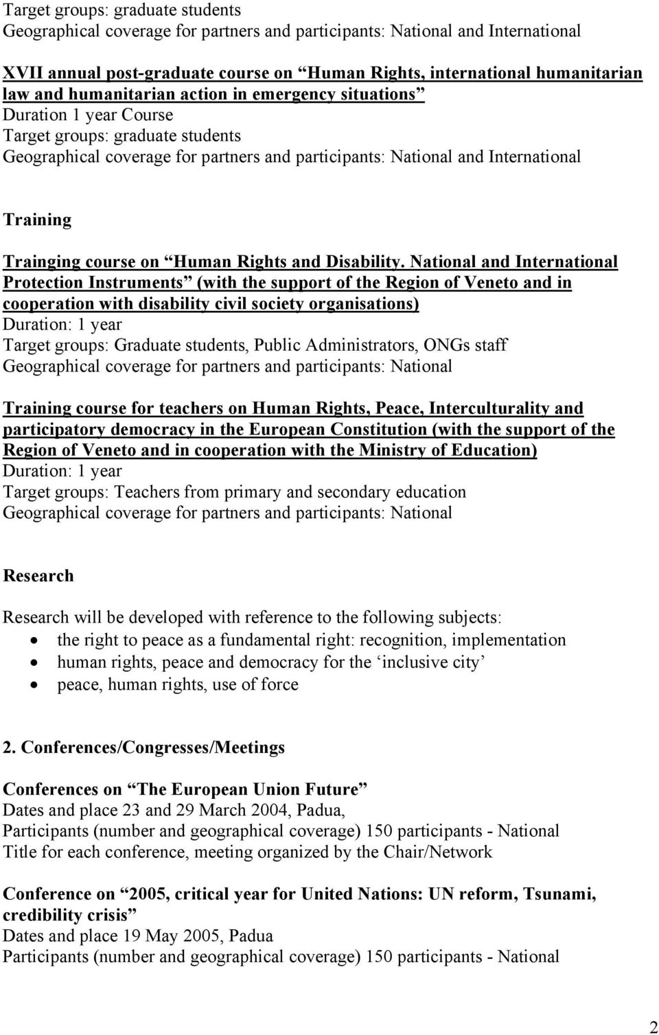 course on Human Rights and Disability.
