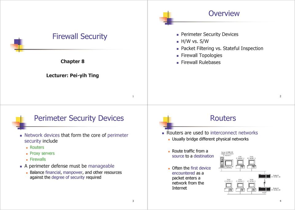 perimeter security include Routers Proxy servers Firewalls A perimeter defense must be manageable Balance financial, manpower, and other resources against the