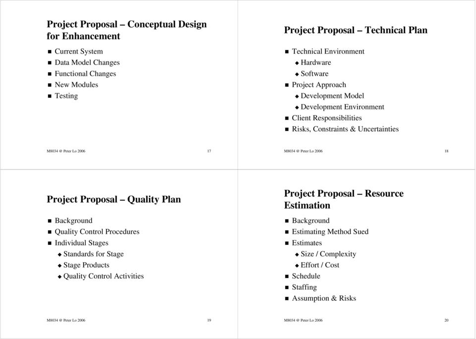 2006 18 Project Proposal Quality Plan Background Quality Control Procedures Individual Stages Standards for Stage Stage Products Quality Control Activities Project Proposal