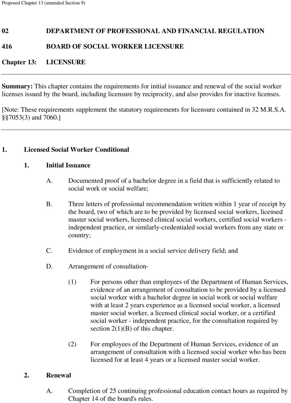 [Note: These requirements supplement the statutory requirements for licensure contained in 32 M.R.S.A. 7053(3) and 7060.] 1. Licensed Social Worker Conditional 1. Initial Issuance A.