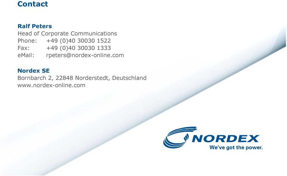 email: rpeters@nordex-online.