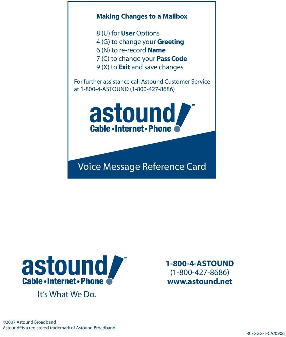1-800-4-ASTOUND (1-800-427-8686) Voice Message Reference Card It s What We Do.