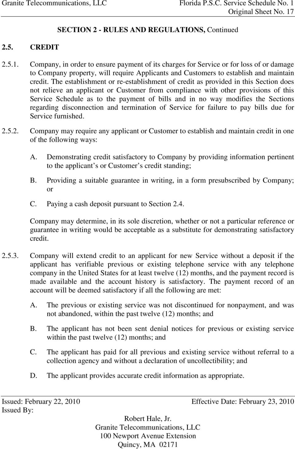 2.5. CREDIT SECTION 2 - RULES AND REGULATIONS, Continued 2.5.1.