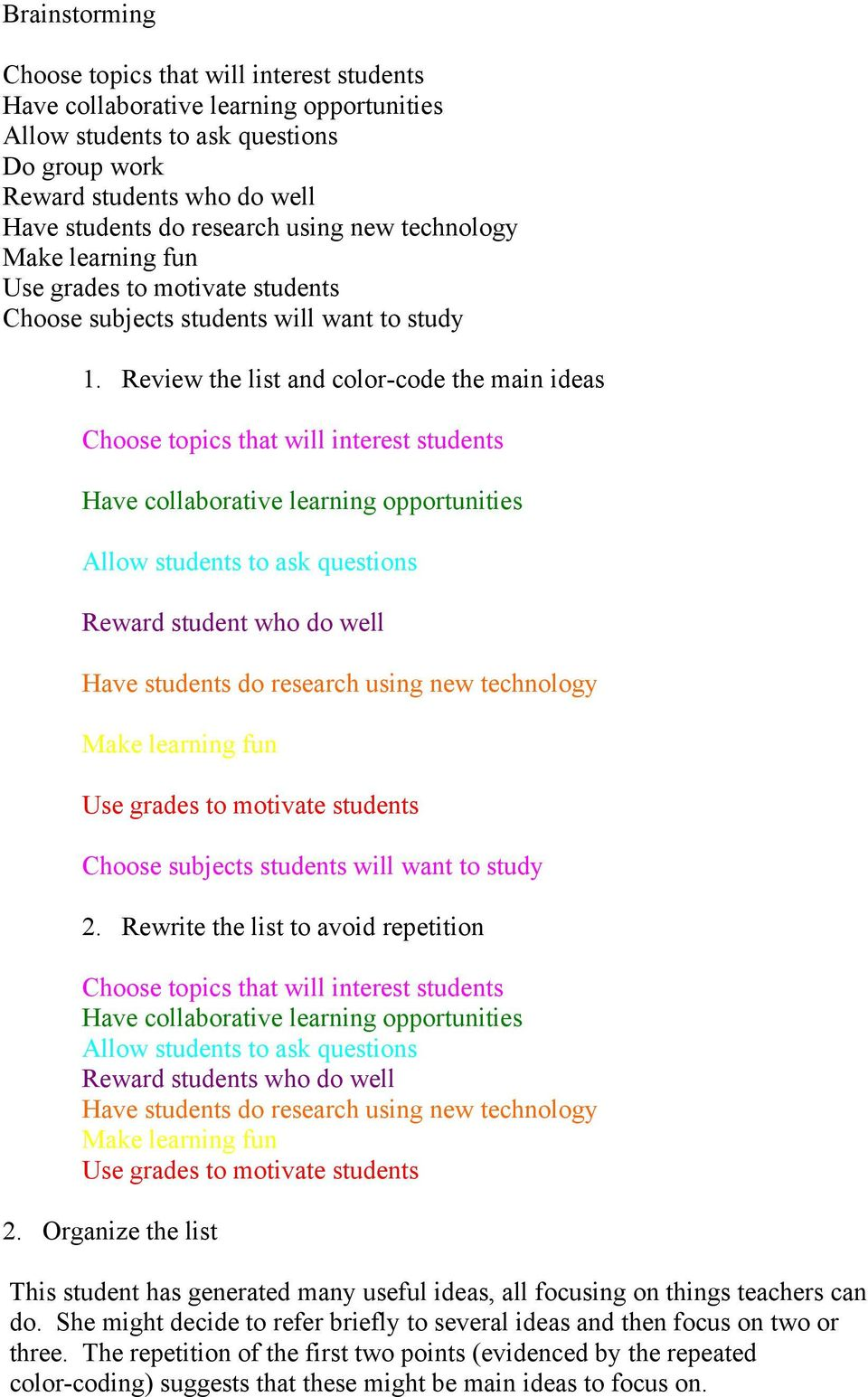 Review the list and color-code the main ideas Choose topics that will interest students Have collaborative learning opportunities Allow students to ask questions Reward student who do well Have