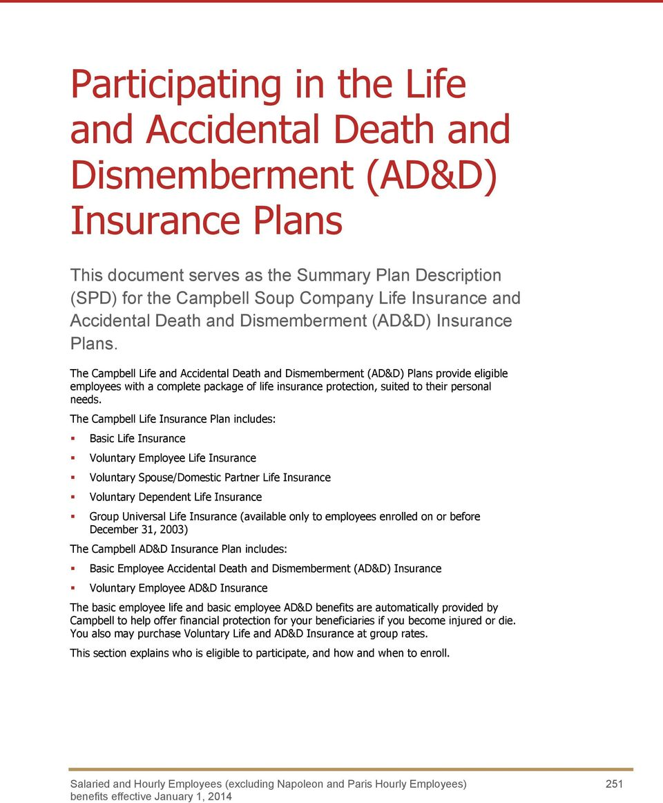 The Campbell Life and Accidental Death and Dismemberment (AD&D) Plans provide eligible employees with a complete package of life insurance protection, suited to their personal needs.
