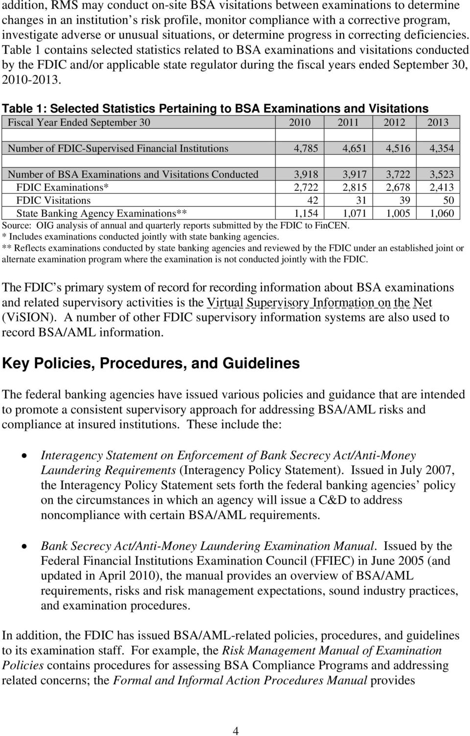 Table 1 contains selected statistics related to BSA examinations and visitations conducted by the FDIC and/or applicable state regulator during the fiscal years ended September 30, 2010-2013.