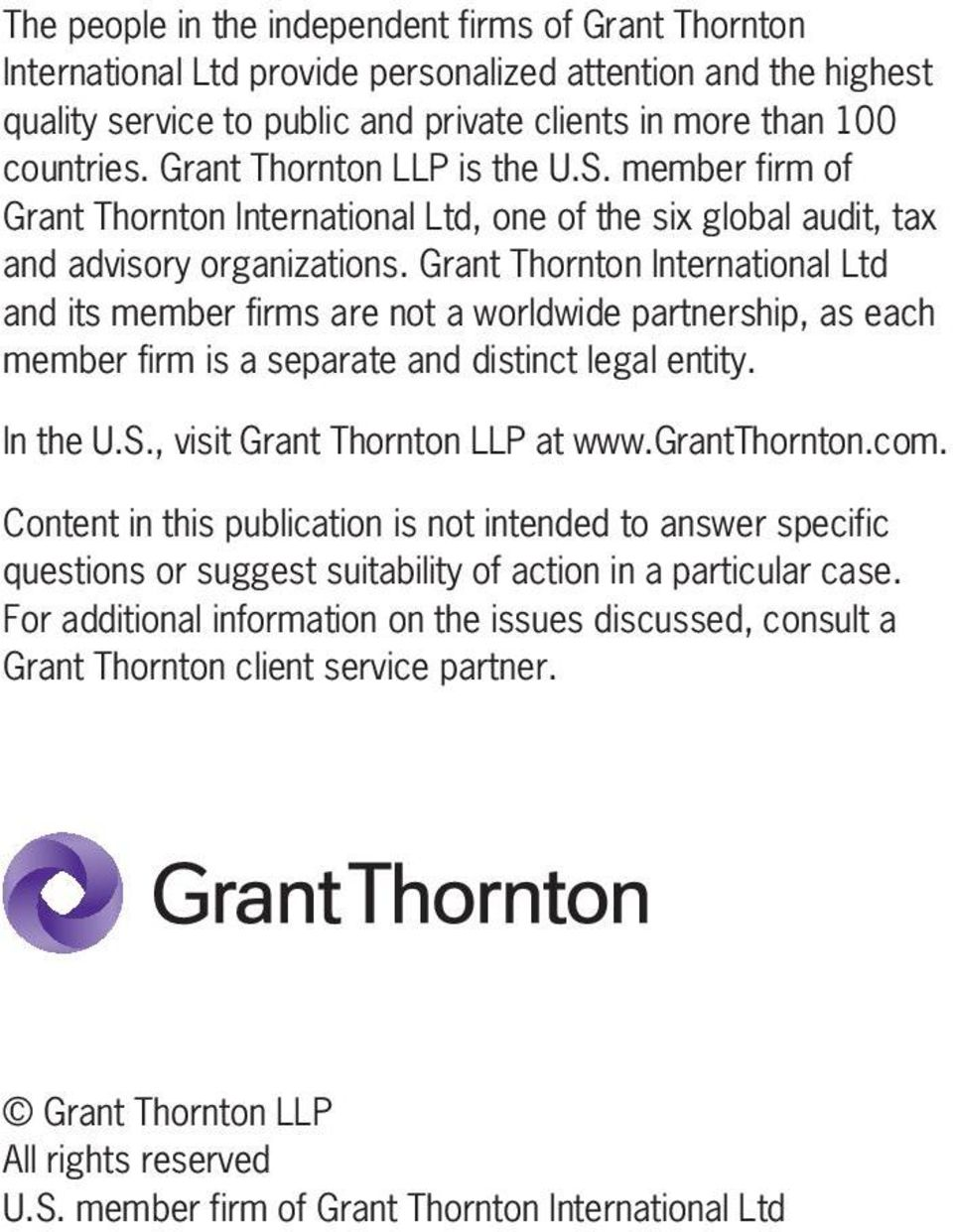 Grant Thornton International Ltd and its member firms are not a worldwide partnership, as each member firm is a separate and distinct legal entity. In the U.S., visit Grant Thornton LLP at www.