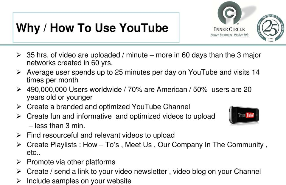 younger Create a branded and optimized YouTube Channel Create fun and informative and optimized videos to upload less than 3 min.