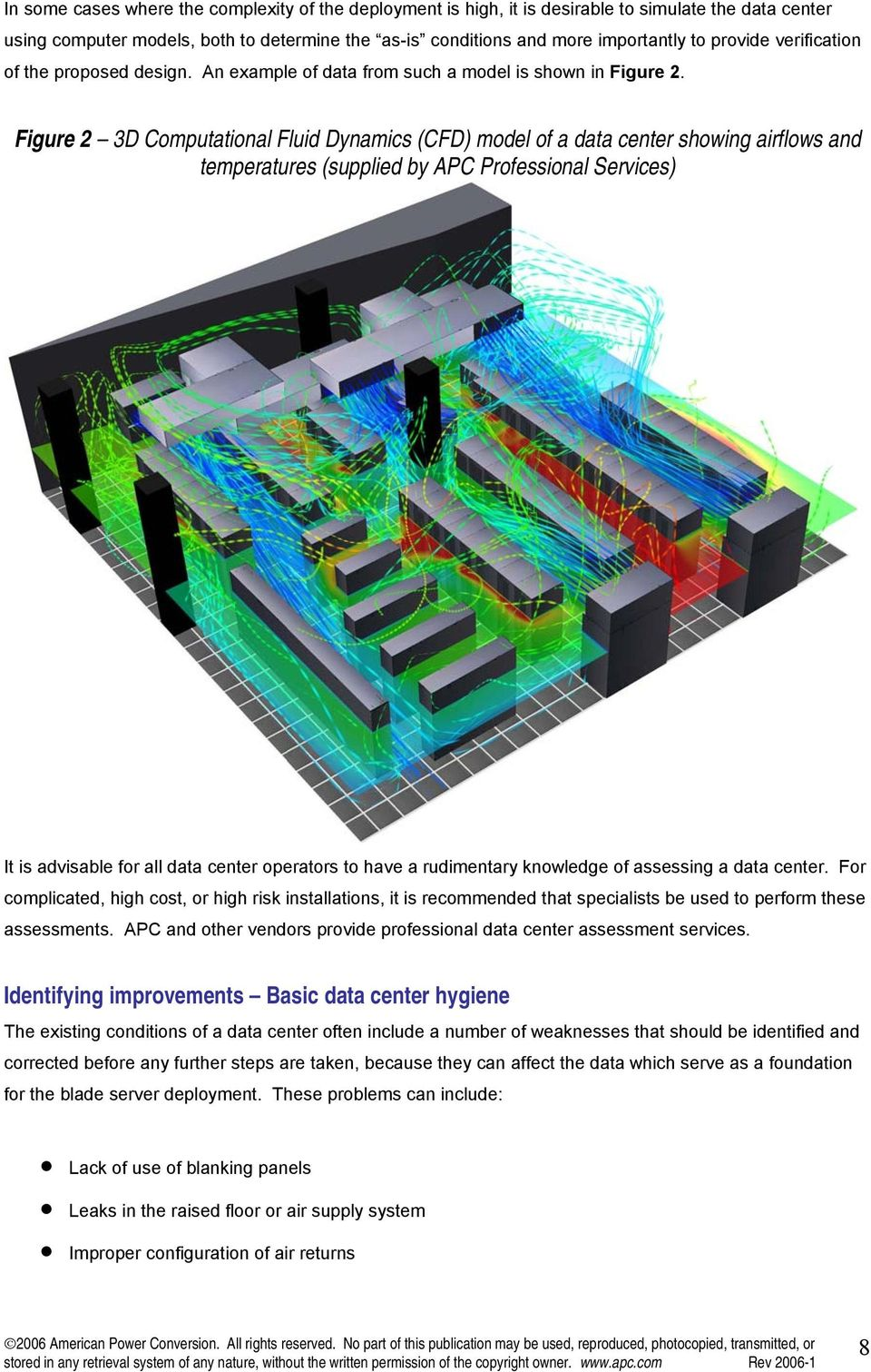 Figure 2 3D Computational Fluid Dynamics (CFD) model of a data center showing airflows and temperatures (supplied by APC Professional Services) It is advisable for all data center operators to have a
