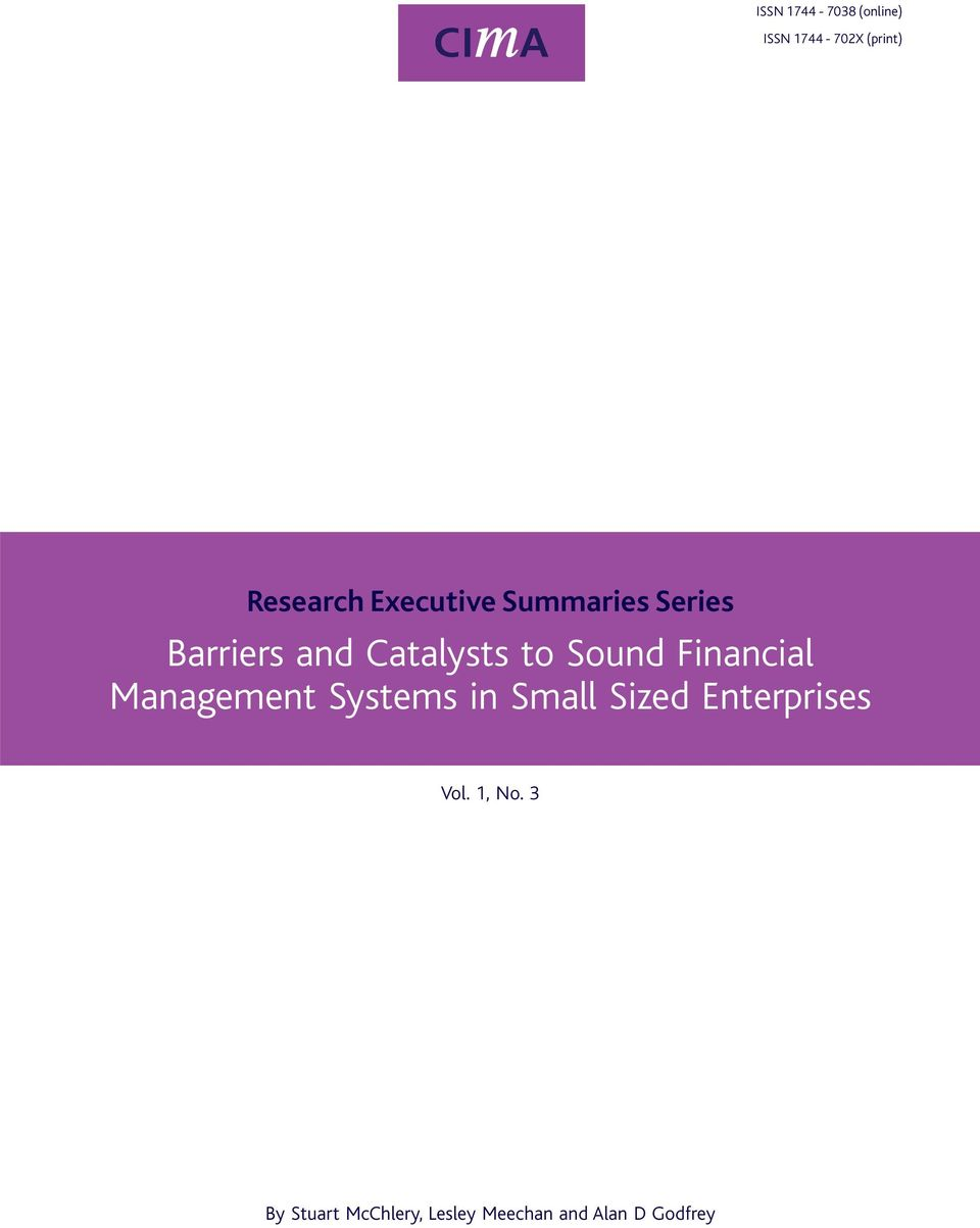 Financial Management Systems in Small Sized Enterprises Vol.