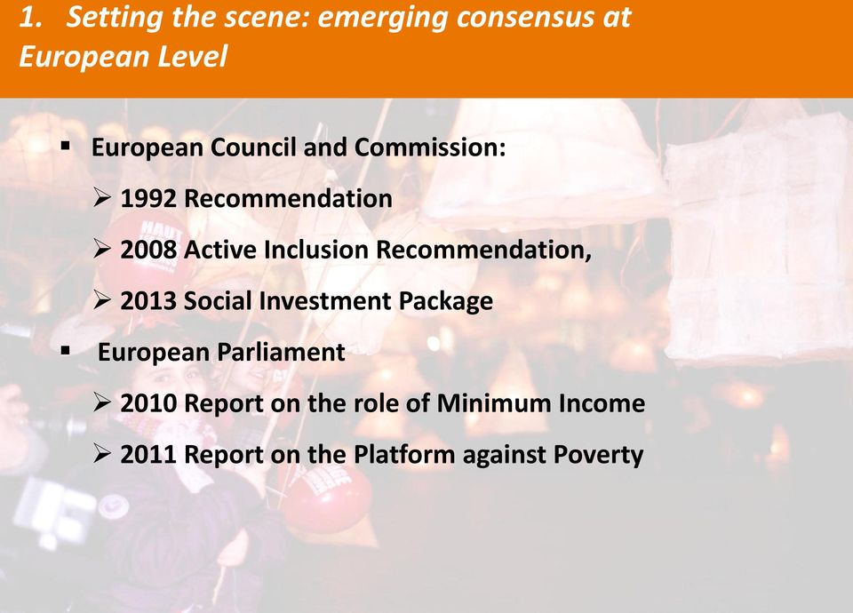 Recommendation, 2013 Social Investment Package European Parliament 2010