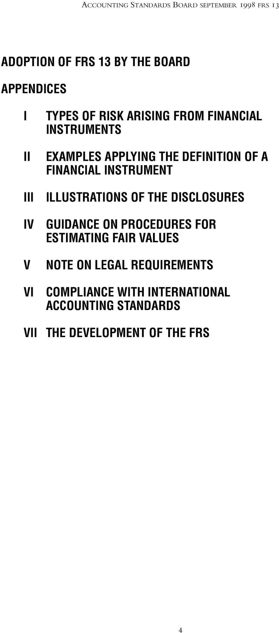 FINANCIAL INSTRUMENT ILLUSTRATIONS OF THE DISCLOSURES GUIDANCE ON PROCEDURES FOR ESTIMATING FAIR