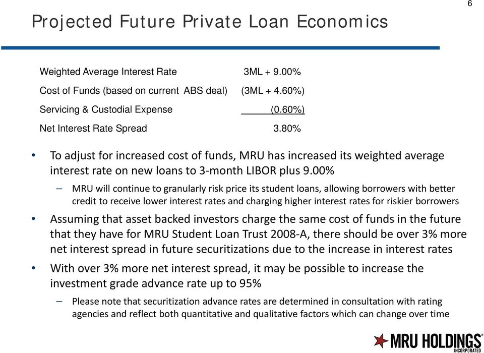 00% MRU will continue to granularly risk price its student loans, allowing borrowers with better credit to receive lower interest rates and charging higher interest rates for riskier borrowers