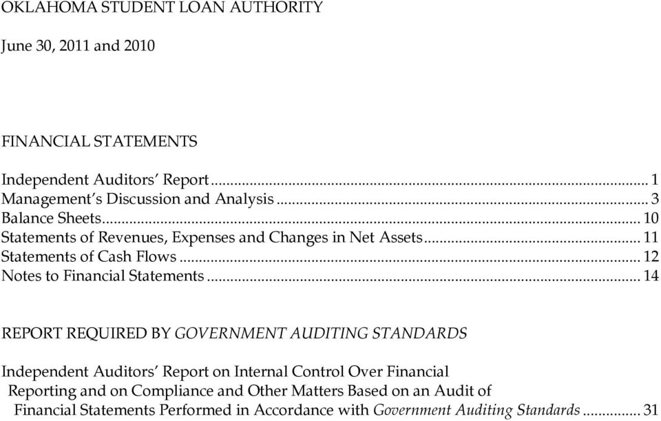 .. 14 REPORT REQUIRED BY GOVERNMENT AUDITING STANDARDS Independent Auditors Report on Internal Control Over Financial Reporting and