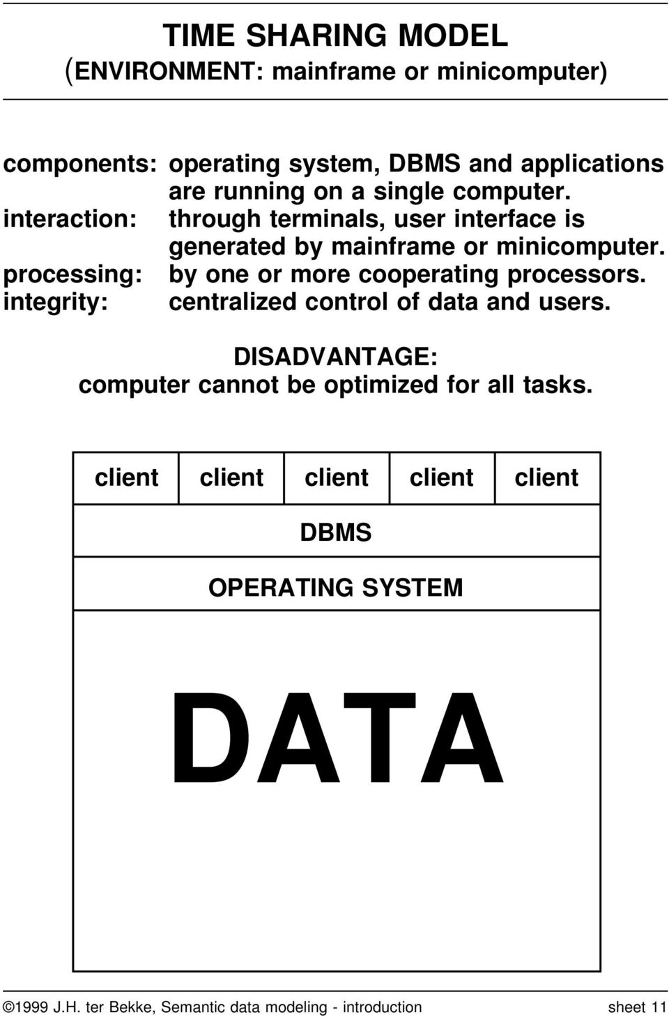 processing: by one or more cooperating processors. integrity: centralized control of data and users.