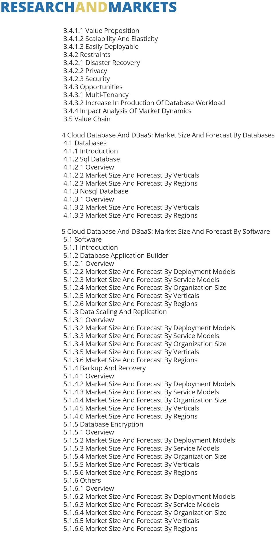 1.2 Sql Database 4.1.2.1 Overview 4.1.2.2 Market Size And Forecast By Verticals 4.1.2.3 Market Size And Forecast By Regions 4.1.3 Nosql Database 4.1.3.1 Overview 4.1.3.2 Market Size And Forecast By Verticals 4.1.3.3 Market Size And Forecast By Regions 5 Cloud Database And DBaaS: Market Size And Forecast By Software 5.