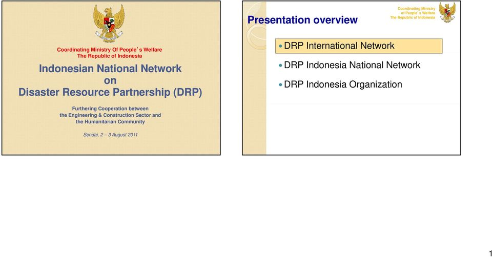 Partnership (DRP) DRP International Network DRP Indonesia National Network DRP Indonesia Organization