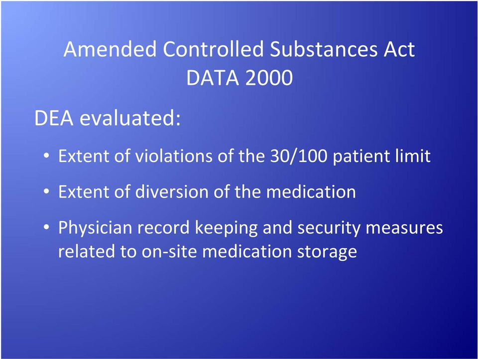 Extent of diversion of the medication Physician record