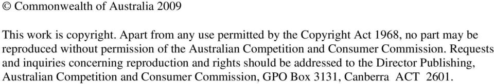 permission of the Australian Competition and Consumer Commission.