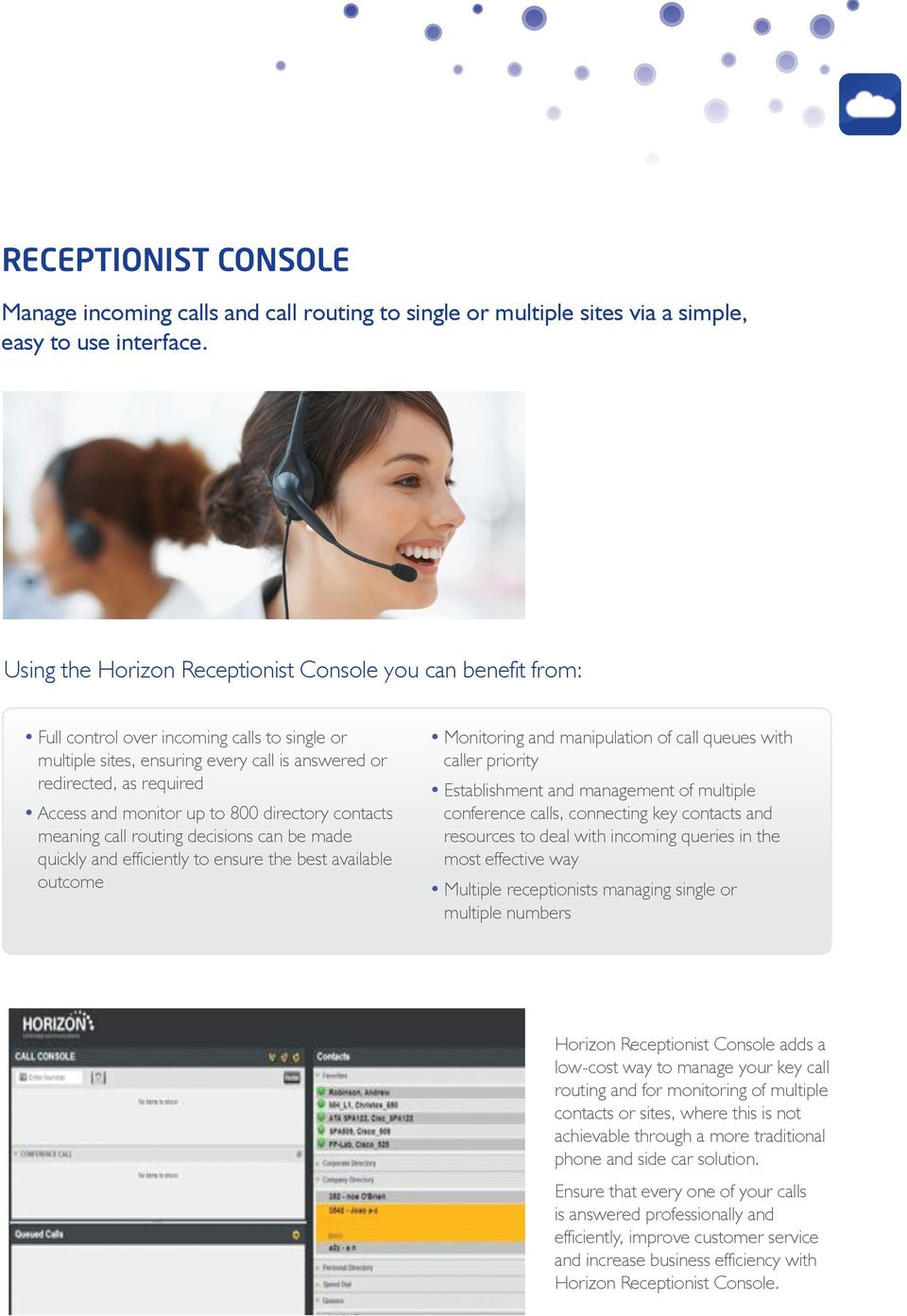 monitor up to 800 directory contacts meaning call routing decisions can be made quickly and efficiently to ensure the best available outcome Monitoring and manipulation of call queues with caller