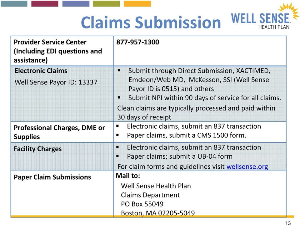 Clean claims are typically processed and paid within 30 days of receipt Electronic claims, submit an 837 transaction Paper claims, submit a CMS 1500 form.