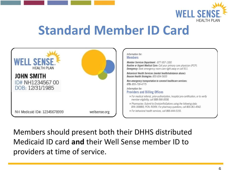 Medicaid ID card and their Well Sense