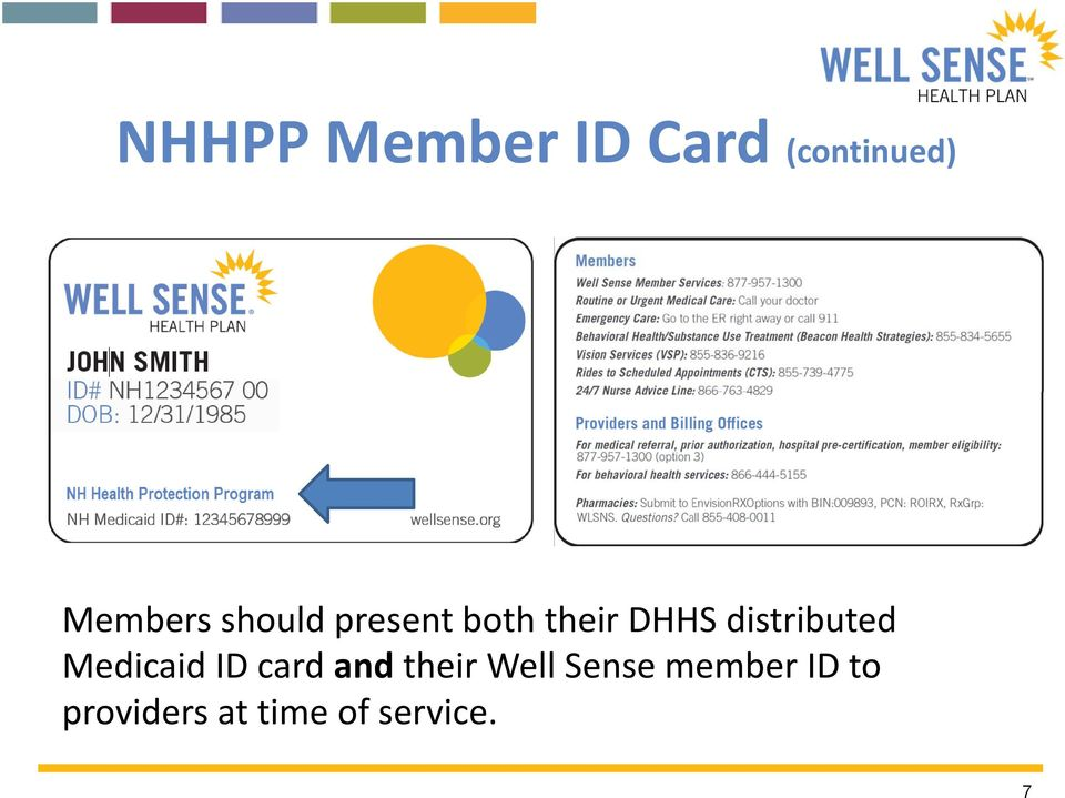 distributed Medicaid ID card and their