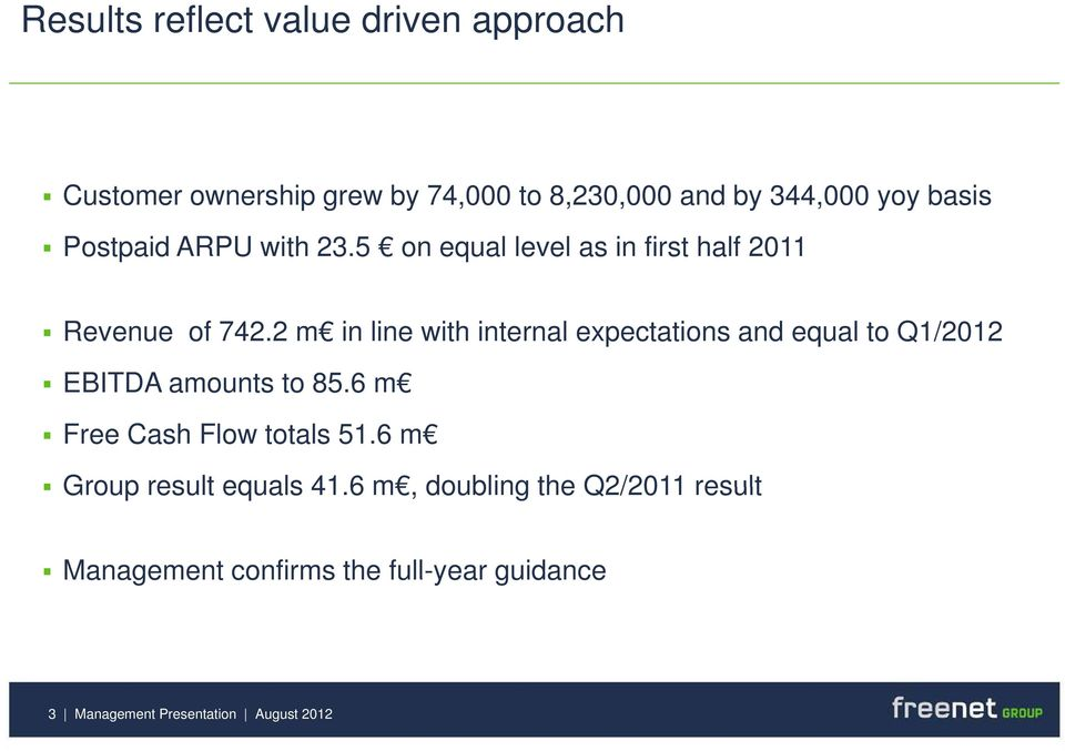 2 m in line with internal expectations and equal to Q1/2012 EBITDA amounts to 85.