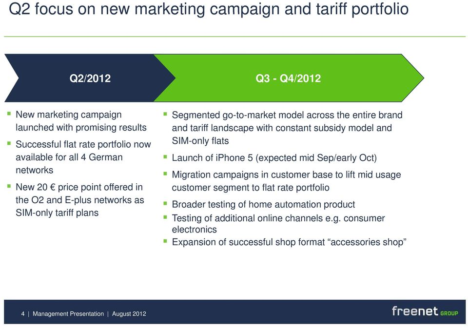subsidy model and SIM-only flats Launch of iphone 5 (expected mid Sep/early Oct) Migration campaigns in customer base to lift mid usage customer segment to flat rate portfolio Broader