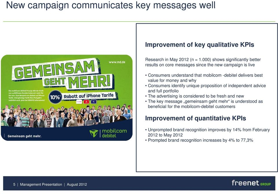 Consumers identify unique proposition of independent advice and full portfolio The advertising is considered to be fresh and new The key message gemeinsam geht mehr is