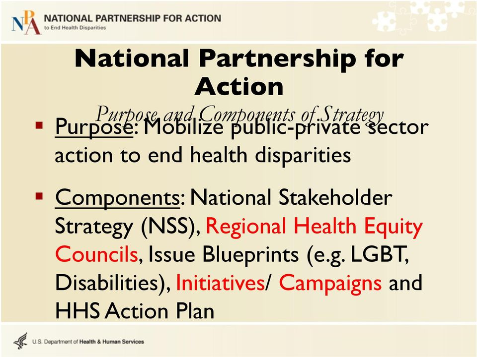 National Stakeholder Strategy (NSS), Regional Health Equity Councils, Issue