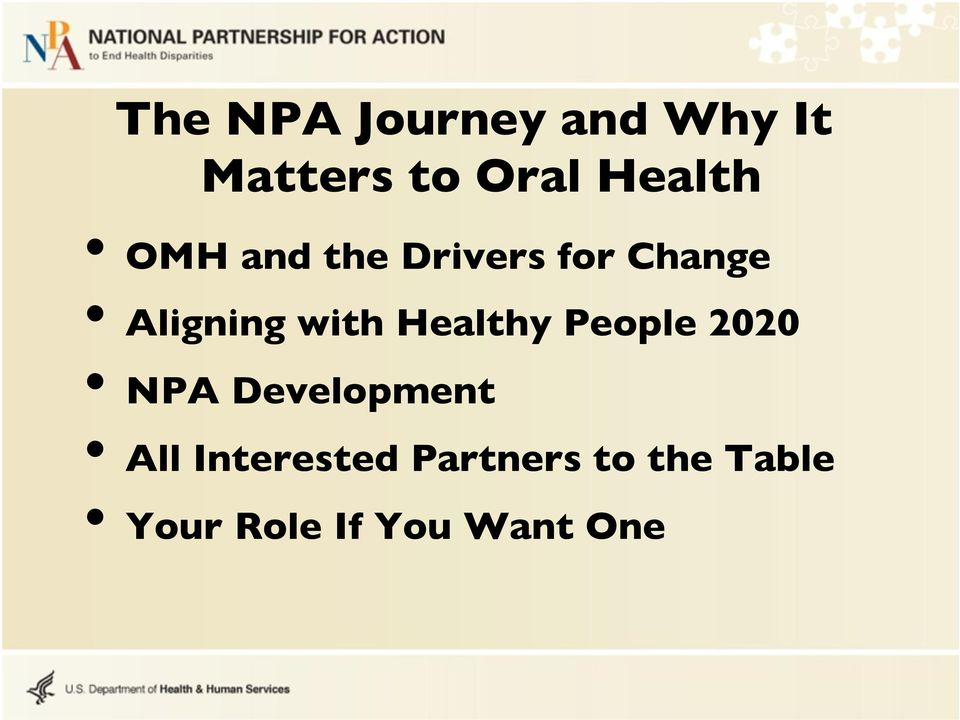 with Healthy People 2020 NPA Development All