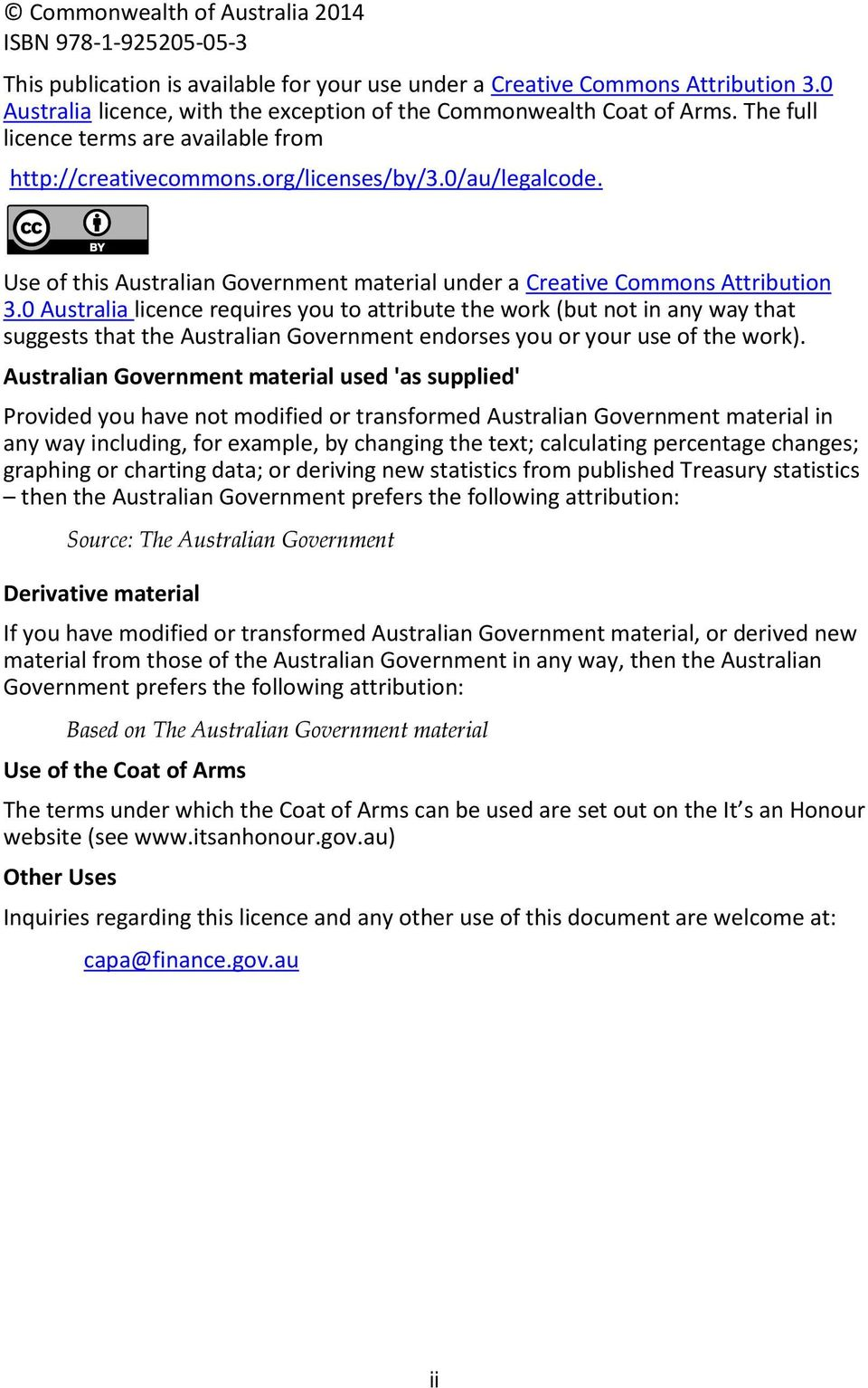 Use of this Australian Government material under a Creative Commons Attribution 3.