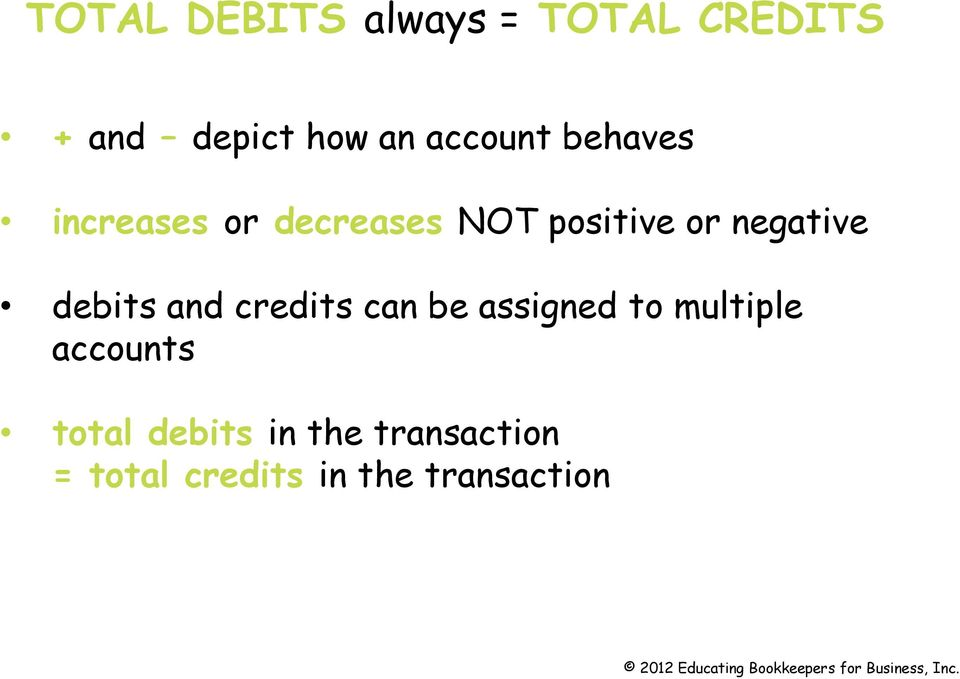 negative debits and credits can be assigned to multiple