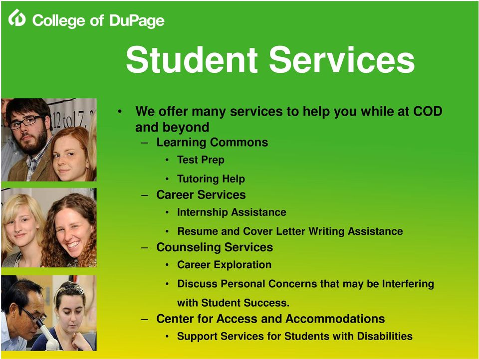 Assistance Counseling Services Career Exploration Discuss Personal Concerns that may be