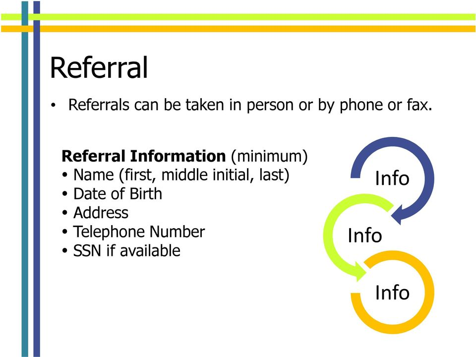 Referral Information (minimum) Name (first,