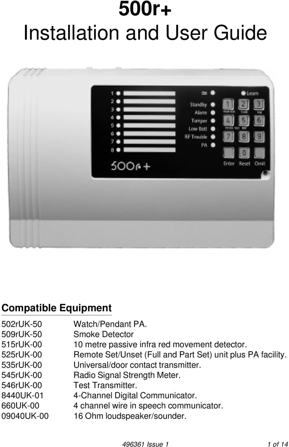 525rUK-00 Remote Set/Unset (Full and Part Set) unit plus PA facility. 535rUK-00 Universal/door contact transmitter.