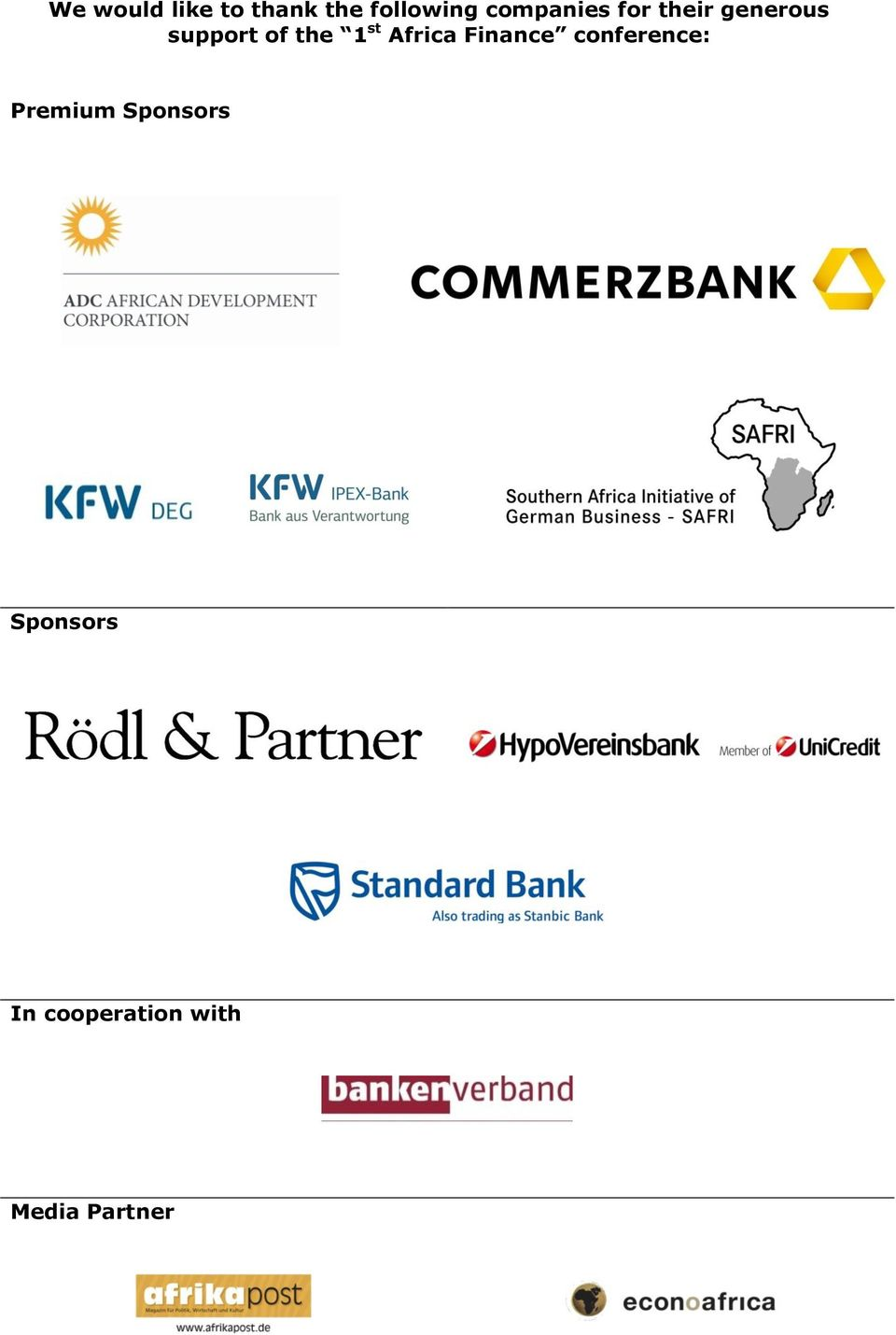 the 1 st Africa Finance conference: