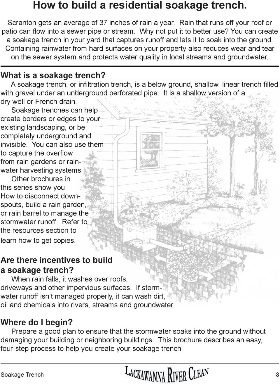 Containing rainwater from hard surfaces on your property also reduces wear and tear on the sewer system and protects water quality in local streams and groundwater. What is a soakage trench?