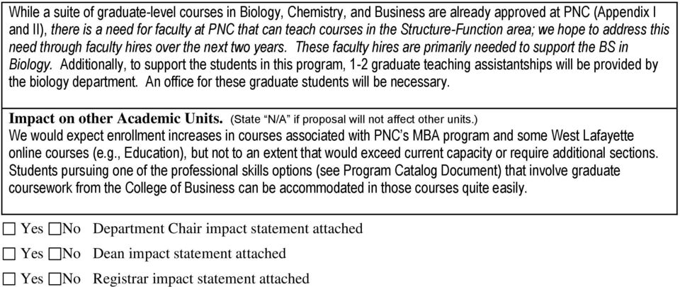 Additionally, to support the students in this program, 1-2 graduate teaching assistantships will be provided by the biology department. An office for these graduate students will be necessary.