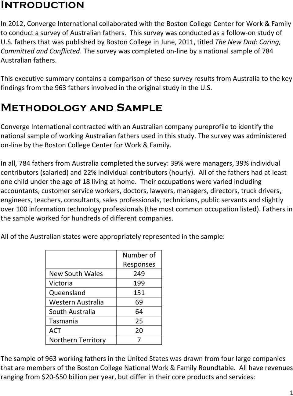 The survey was completed on-line by a national sample of 784 Australian fathers.