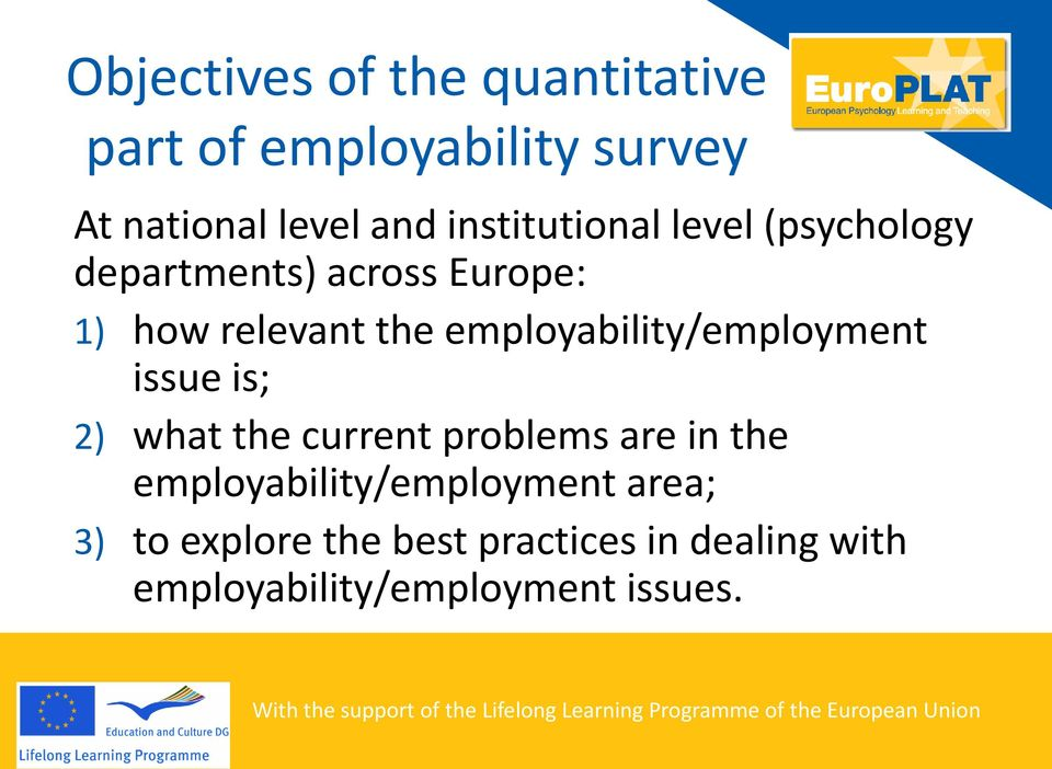 employability/employment issue is; 2) what the current problems are in the