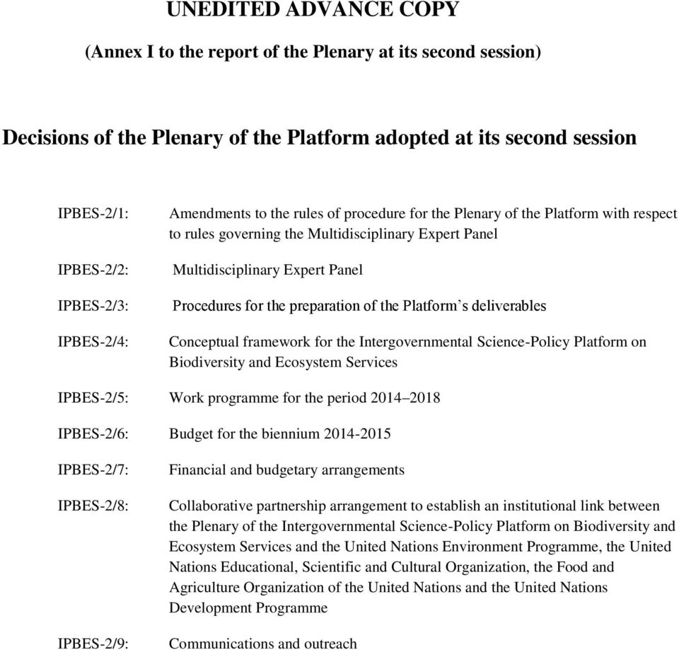 of the Platform s deliverables Conceptual framework for the Intergovernmental Science-Policy Platform on Biodiversity and Ecosystem Services IPBES-2/5: Work programme for the period 2014 2018