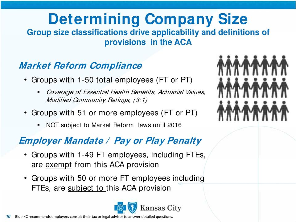 subject to Market Reform laws until 2016 Employer Mandate / Pay or Play Penalty Groups with 1-49 FT employees, including FTEs, are exempt from this ACA provision