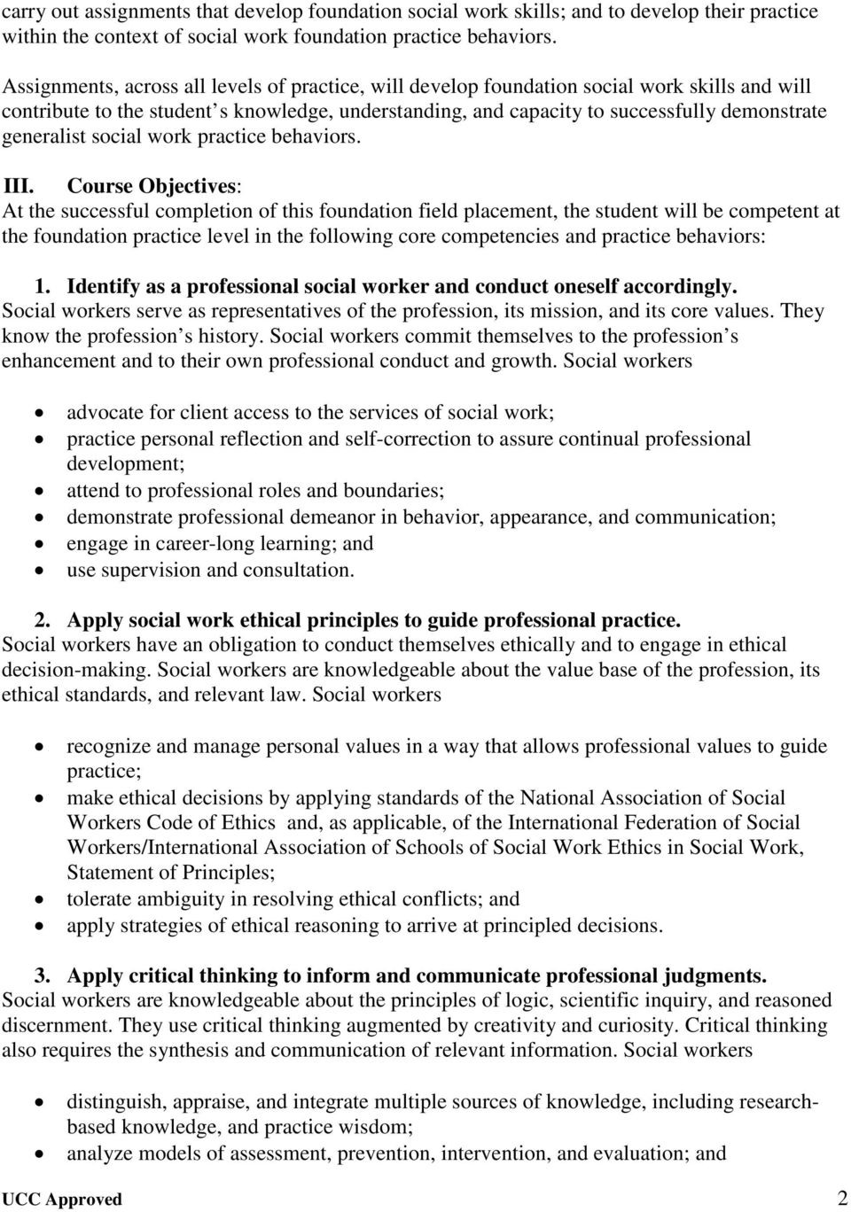 generalist social work practice behaviors. III.