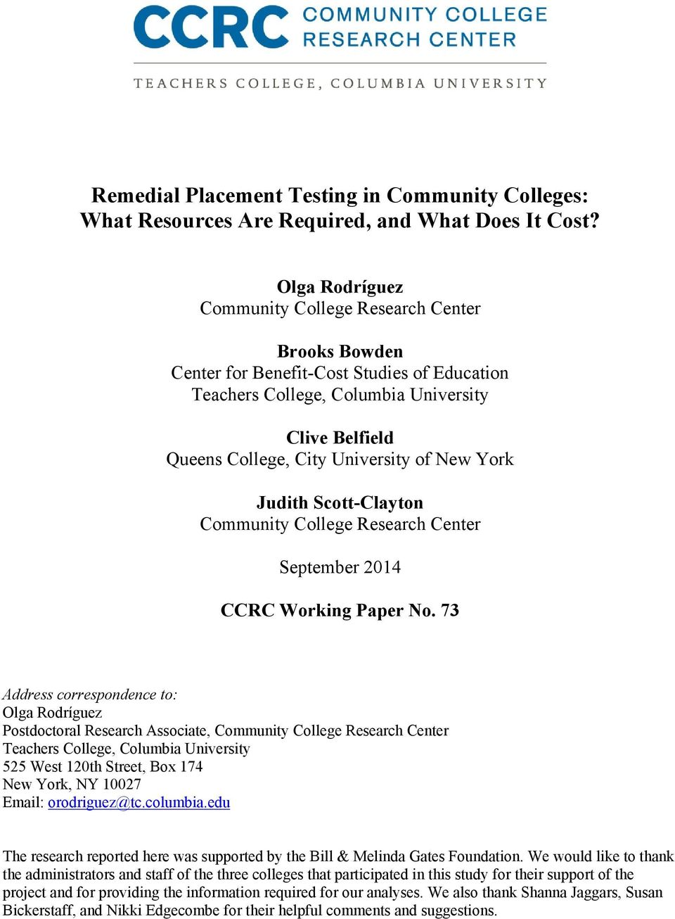 York Judith Scott-Clayton Community College Research Center September 2014 CCRC Working Paper No.