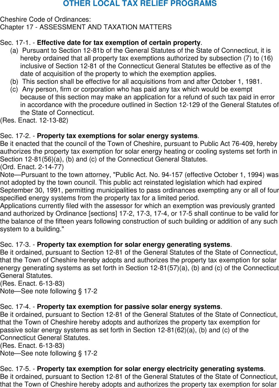 12-81 of the Connecticut General Statutes be effective as of the date of acquisition of the property to which the exemption applies.