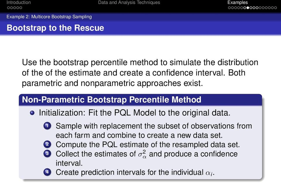 Non-Parametric Bootstrap Percentile Method Initialization: Fit the PQL Model to the original data.