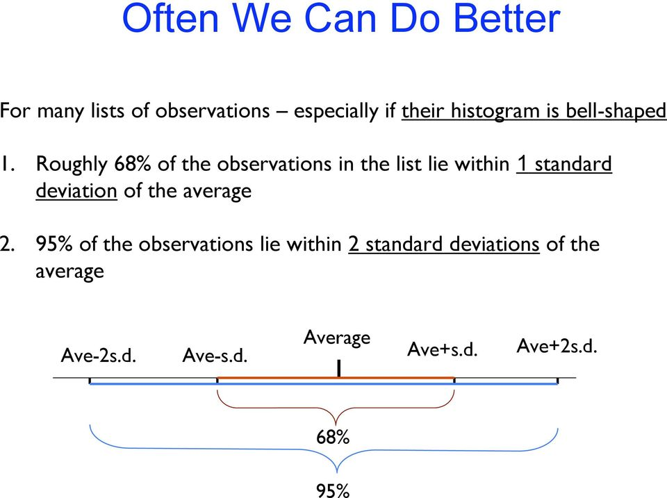 Roughly 68% of the observations in the list lie within 1 standard deviation of